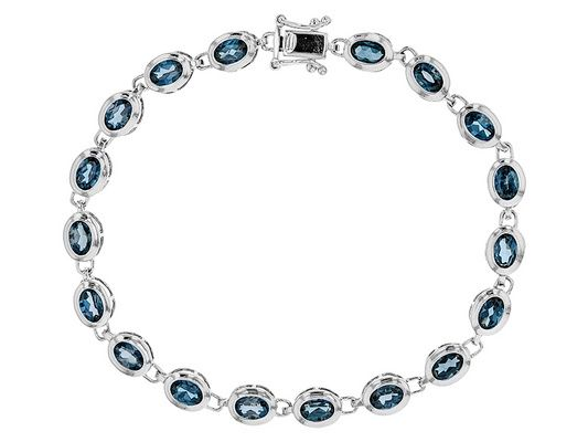 9.80ctw Oval London Blue Topaz Sterling Silver Bracelet