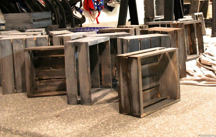 painting Michael's wood crates to look like Restoration Hardware