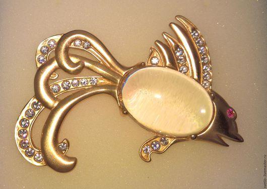 Купить Harrice Miller Винтажная брошь Золотая рыбка - золотой, рыбка, золотая рыбка