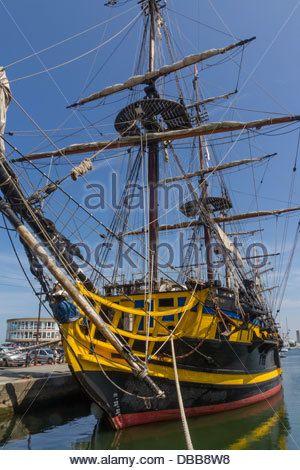 Ranska Bretagne, St.Malo, Étoile du Roy, replika 18th.  luvulla fregatti - Stock Photo