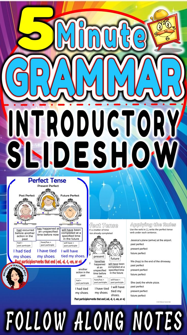 5 Minute Grammar is designed for ease of use. The teacher uses a grammar rules slideshow while the students follow along and annotate a rules chart. Next, they apply the rules to a few examples and paste the rules chart and the examples into a notebook for use as a reference through out the year. Teaching grammar has never been easier. This is all thoughtfully designed to take just a few minutes.