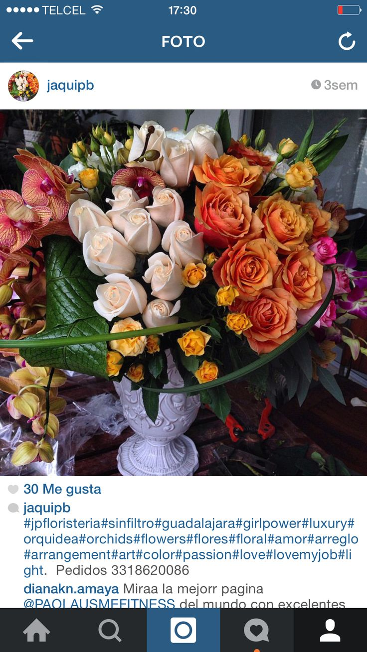 Roses and orchid centerpiece