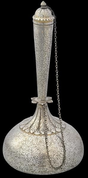 Unusual Chased & Parcel Gilded Silver Water Flask (Surahi) Lucknow, India circa 1880