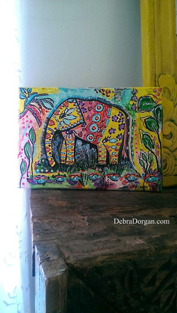 Bohemian Elephant 2, Original Painting, Small, Boho ...