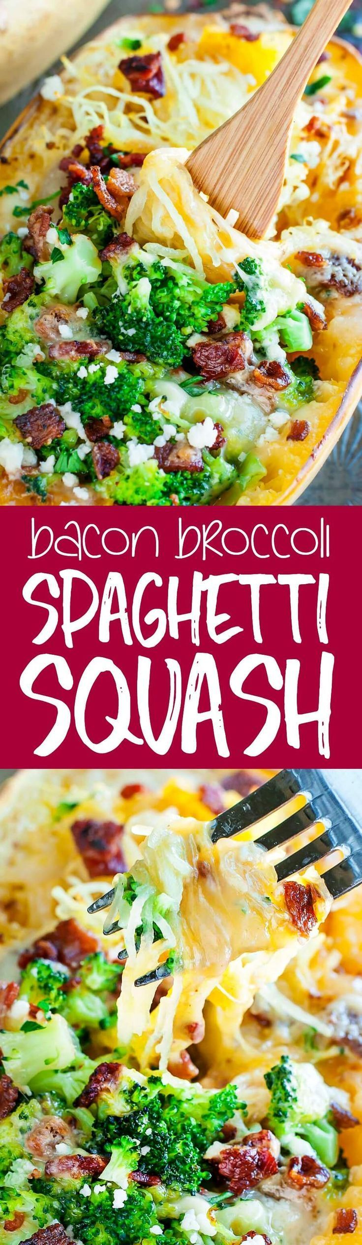 This Cheesy Bacon Broccoli Stuffed Spaghetti Squash is stuffed to the brim with tender broccoli, crispy bacon, and melted cheese.