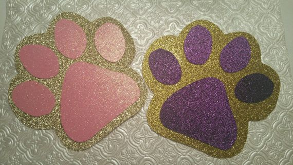 Choose colors Animal paws in glitter die cuts for mascot
