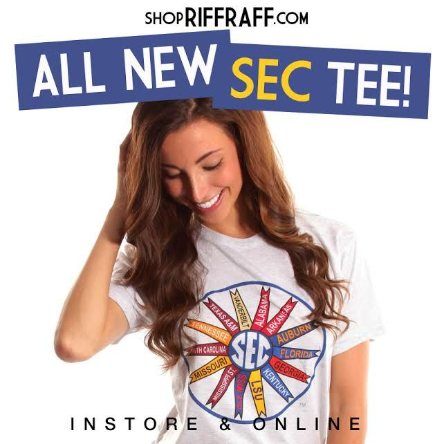 Have you checked out Riffraff's new GAMEDAY LINE yet?! #arkansas #southcarolina #florida #georgia #vanderbilt #tennessee #kentucky #alabama #auburn #mississippistate #olemiss #lsu #aggies #missouri #SEC