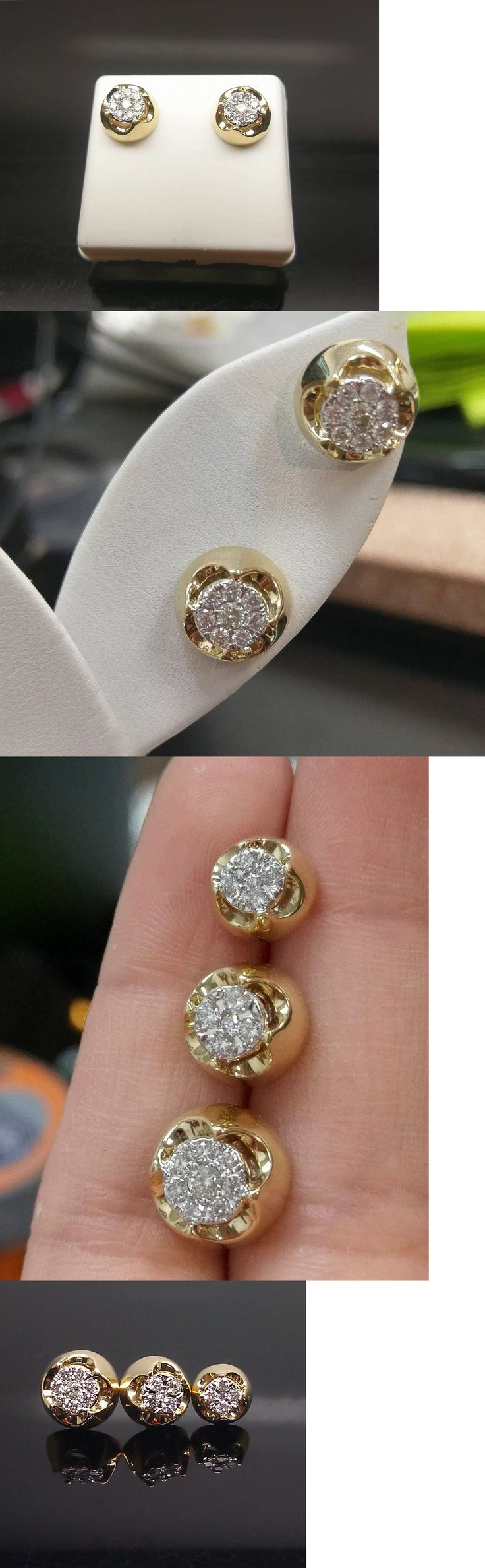Earrings Studs 14085: 14K Yellow Gold Stud With Genuine Diamonds For Men And Women In 6 Mm 8 Mm 10 Mm -> BUY IT NOW ONLY: $459.99 on eBay!