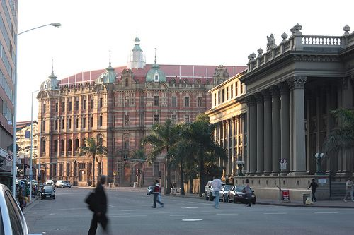 Original Central Railway Station & Post Office on right, Gardiner St, Durban