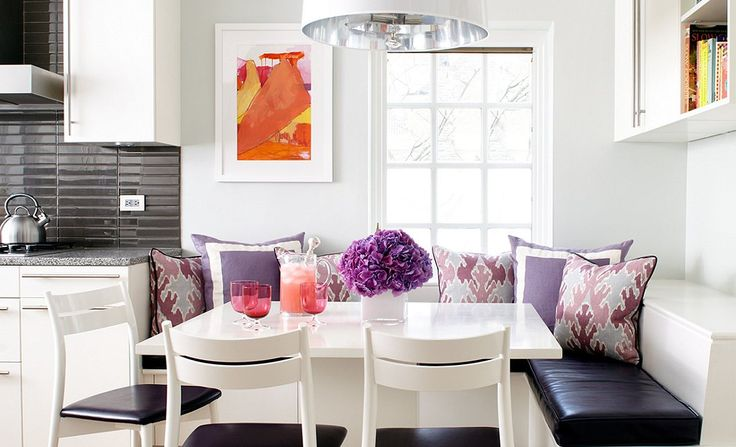 Love the pops of bright in this modern kitchen breakfast nook!