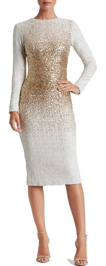 brooke sequin midi dress by Dress the Population. Snow-white sequins diffused with metallic shine create ombre dimension on this glistening body-con dress  #dressthepopulation #dresses