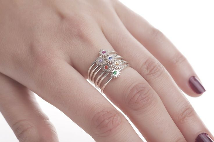 Small Silver Cog Ring (various colours)