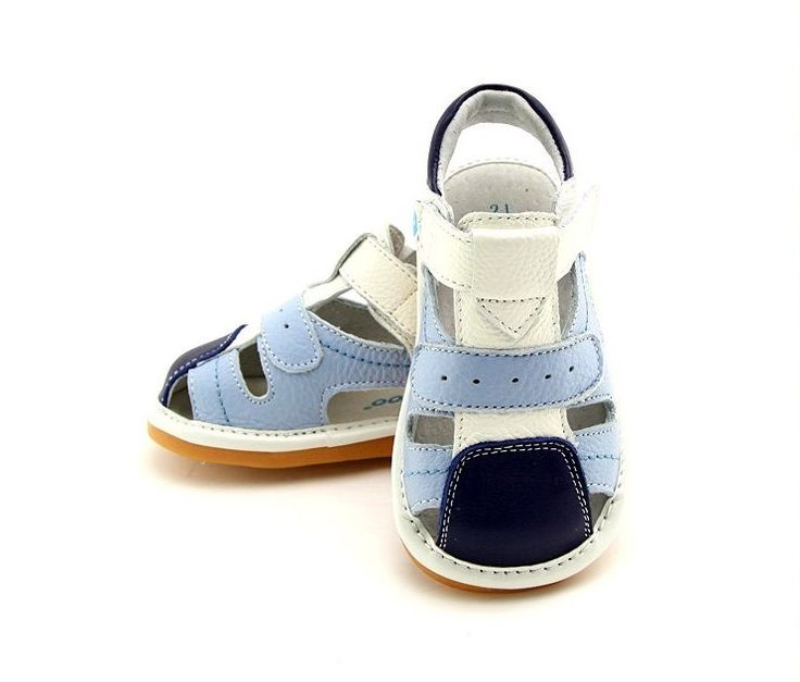 Boy's Toddler Children's Squeaky Shoes White & 2 Tone Blue Real Leather  Sandals