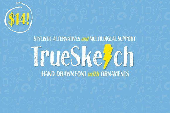 Truesketch + Bonus Ornament Font by Tom Chalky on @creativemarket