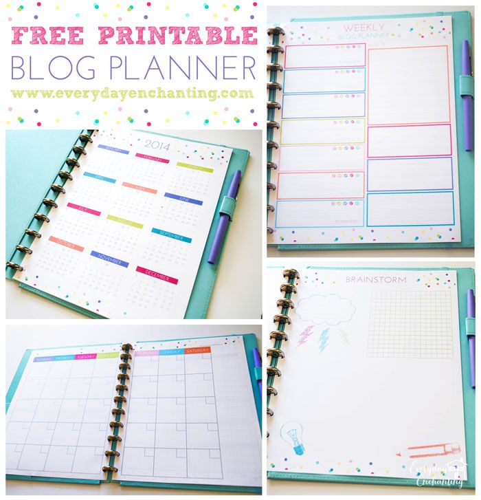 Free Printable Blog Planner from Everyday Enchanting. Can use the monthly template for my planner.