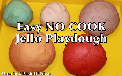 Easy NO COOK Jello Playdough - kids can help make it & then play, play, play! Smells yummy & no harsh ingredients!Kitchens, Jello Playdough, Easy, Kids Stuff, Posh Lil, Plays Dough, Kids Crafts, Cooking Jello, Lil Divas