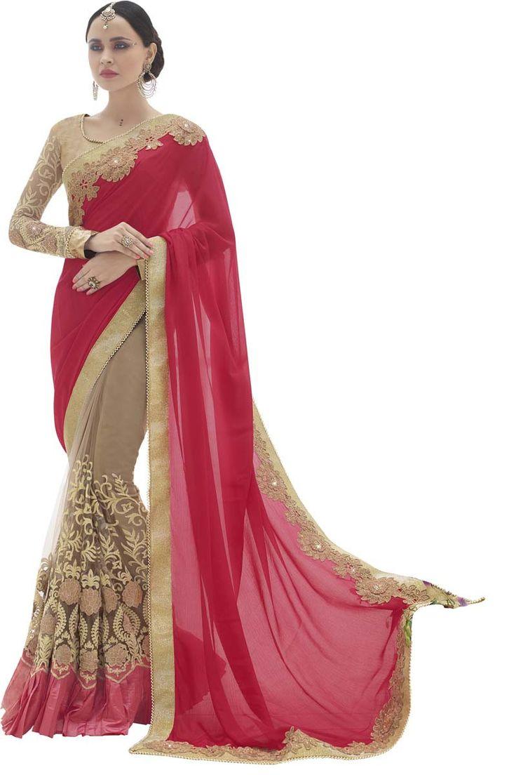 Red Georgette Designer Saree                                                                                                                                                                                 More