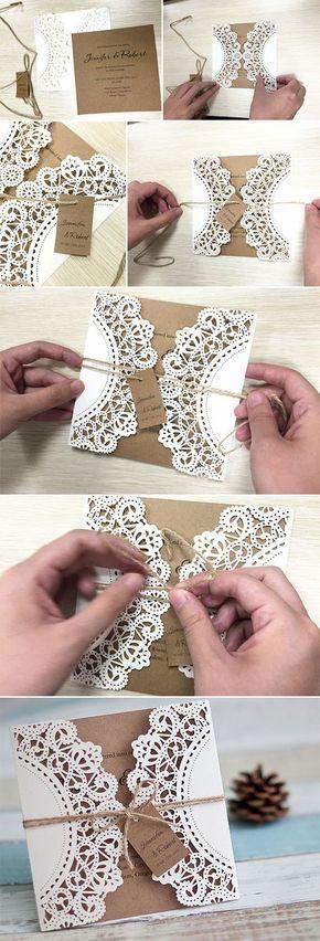 diy lace and burlap laser cut rustic wedding invitations for country wedding ideas:                                                                                                                                                                                 Más
