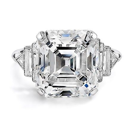 Ivanka Trump Collection Platinum Asscher Cut Diamond Ring with Mixed Cut Diamond Band