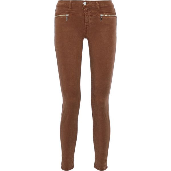 J Brand Miranda stretch-twill skinny pants ($250) ❤ liked on Polyvore featuring pants, calça, jeans, light brown, slim pants, slim fit trousers, skinny trousers, brown pants and slim-fit trousers
