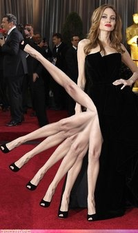 "Weird & Bizarre: ""New meme: Angelina's right leg."" I'm guessing Angelina Can Can?Oscars Legs, Andor Horrifying, Angelina Jolie'S, Funny, Legs Weird, Weird Legs, Oscars S Angelina, Angelina Jolie Legs, Rememberance Angelina Weird"