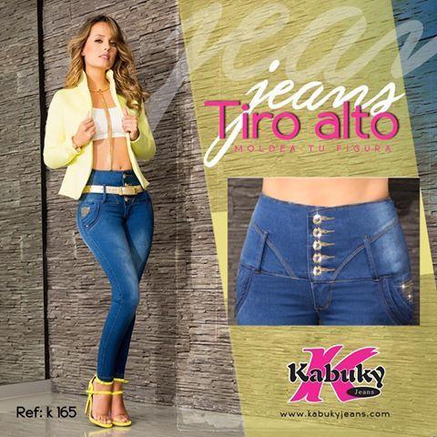 Sigue el consejo de nuestra #MarcaDelDía: Kabuky Jeans: Esta silueta es ideal para mujeres que prefieren estilizar su figura, nuestro Jean K 165 de Tiro Alto y 5 botones que da mejor forma a la cadera y control al abdomen. #KabukyJeans #JeanTiroAlto #PushUp. Local: 2346. Tel: 6015382. Cel: 3144441330. #ColombianoCompraColombiano