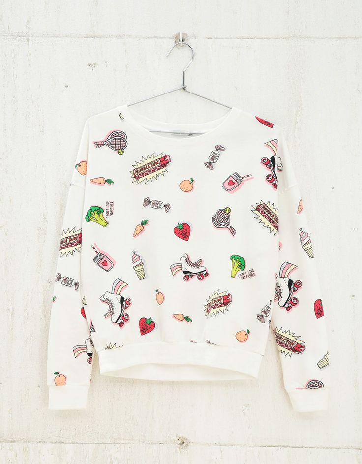 BSK all over print sweatshirt. Discover this and many more items in Bershka with new products every week