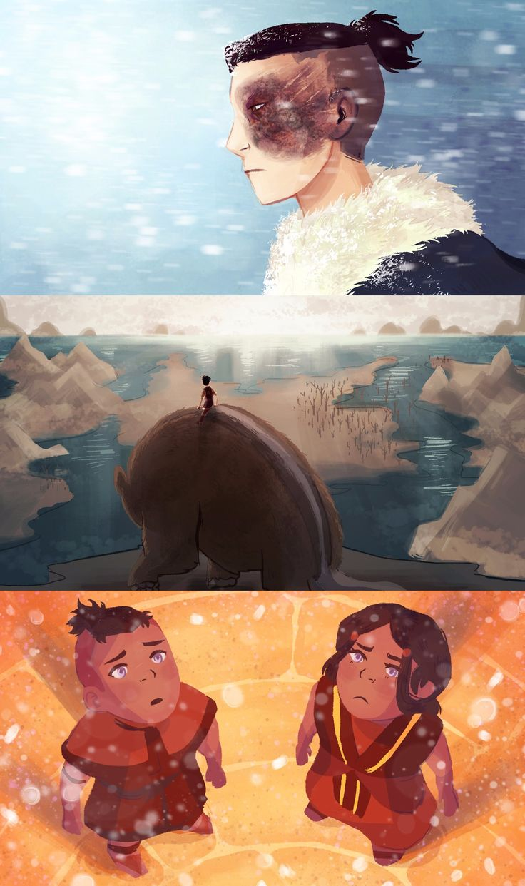 squidwithelbows: I love the opposite element AU, so I wanted to add a few of my own ideas that differed from the version that's been going around by venidel. The ice blast that Ozai used to scar Zuko also has some nasty frostbite. Since Aang is the last earthbender Appa would be the last badgermole after the Earth Kingdom was flooded. Instead of ash, snowfall is the first sign of a Water Tribe attack.