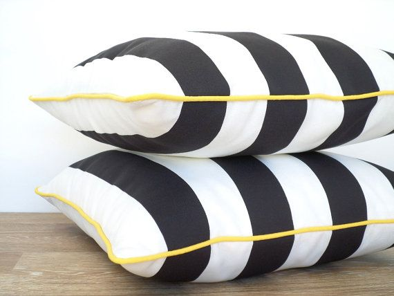 Canopy stripe outdoor pillow with accent piping, outdoor bench cushion, black and white cushion outdoor furniture, black and yellow pillow