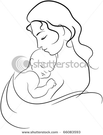 Mother-Child Line Drawings