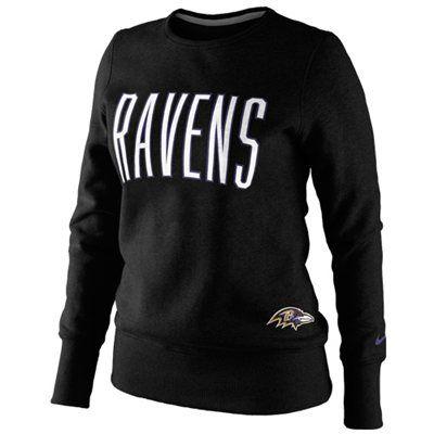 Nike Baltimore Ravens Ladies Tailgater Fleece Pullover Sweatshirt - Black