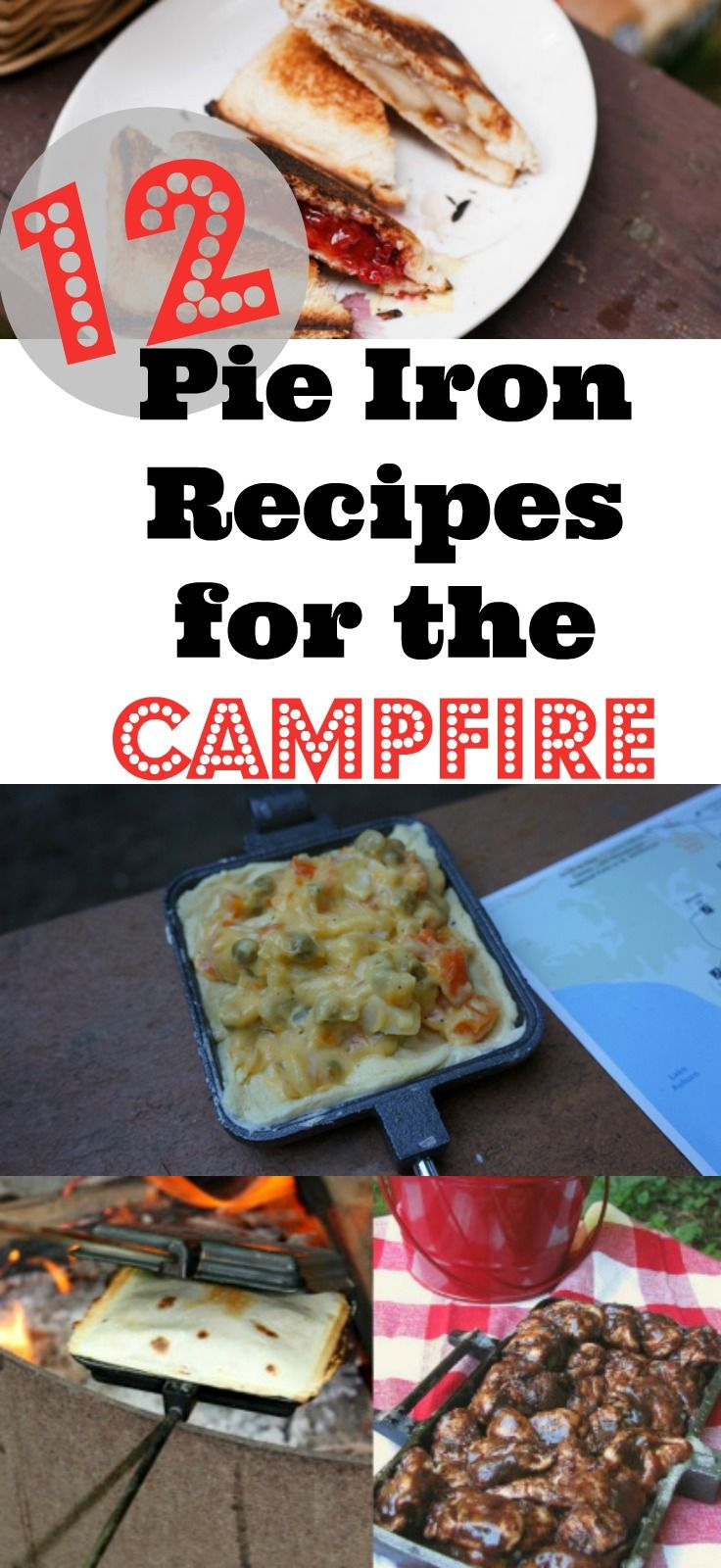Pie Iron Recipes - 12 easy recipes you need for your next camping trip - Breakfast, Lunch/Dinner, Desserts - Find more great camping tips, camping meals, and more at http://littlefamilyadventure.com/tag/camping.