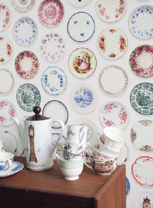 Joyful Porcelain Plates Wallpaper