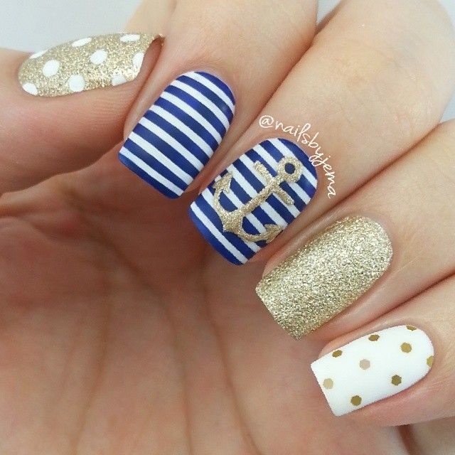 Jema @nailsbyjema | Websta (Webstagram) | <3 Nautical mani ] colours used are all OPI: 'Alpine Snow', 'Honey Ryder', 'OPI.. Eurso Euro' & 'Love. Angel. Music. Baby'. Love my @opi_products. Glitter is from eBay and topped with Essie 'Matte About You'.