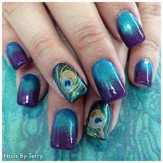 Peacock nail design