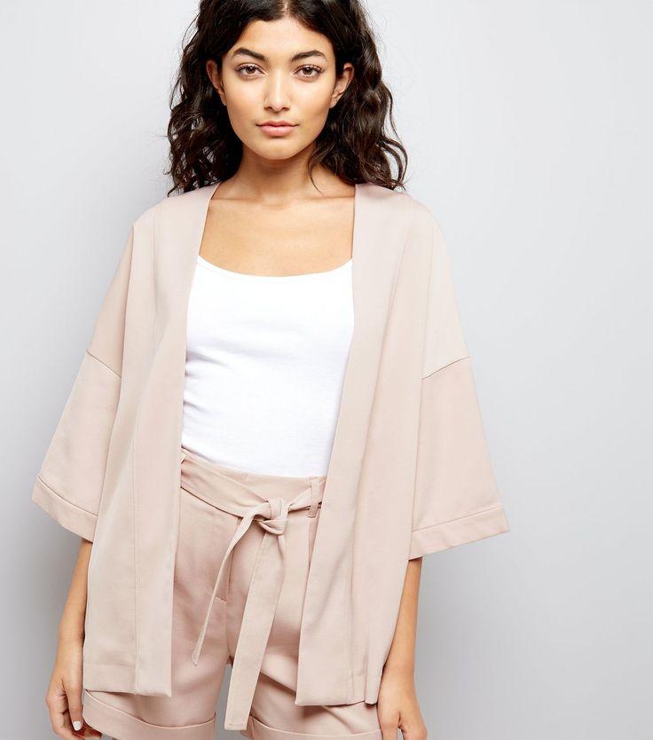 Shell Pink Sateen Kimono Jacket | New Look