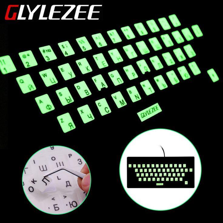Glylezee発光防水russain言語キーボードステッカーフィルムレイアウトでボタン手紙アルファベット用コンピュータキーボード