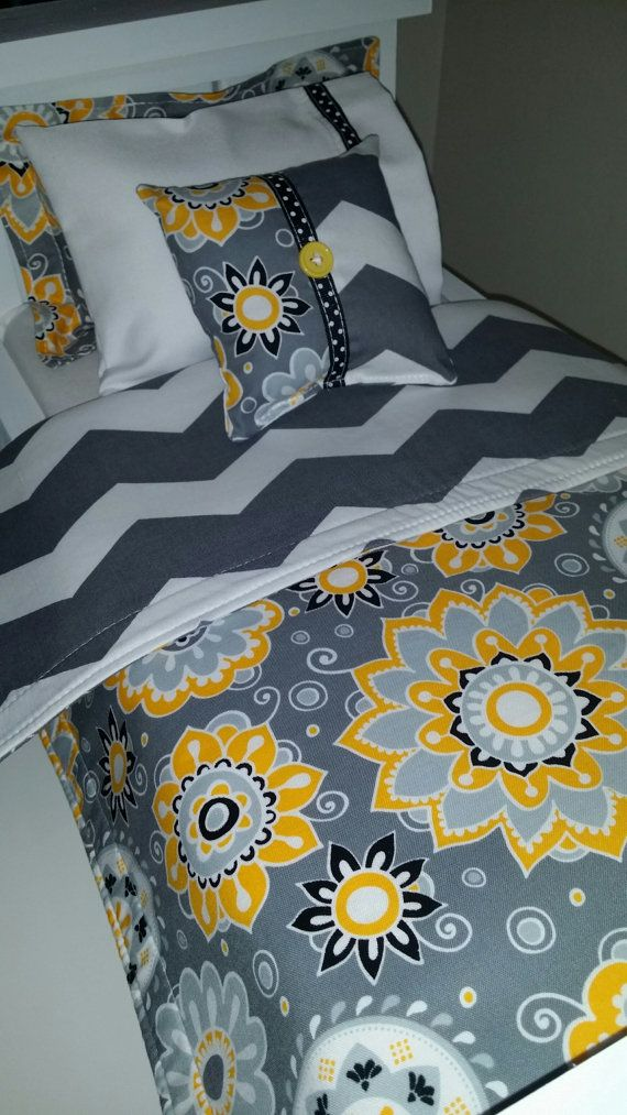 18 Doll Bedding Set Gray and Yellow Flowers Doll