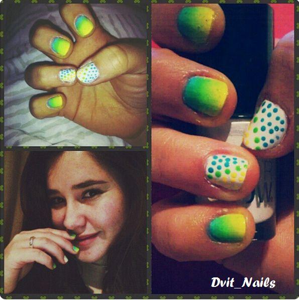Dots en degradé #dots #nailart #degrade #colores