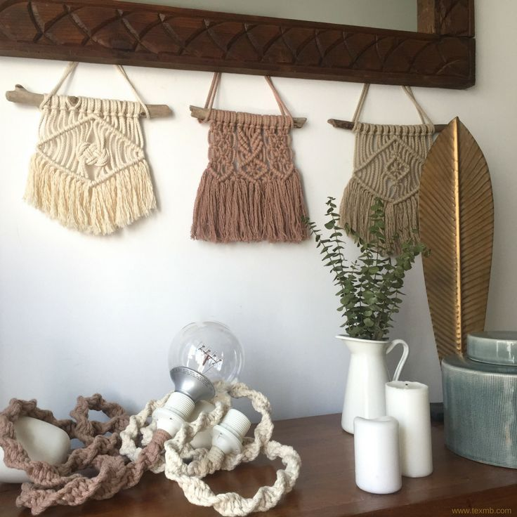 Mini Macrame wallhangings. Original designed by TEX MB. See more: www.texmb.com