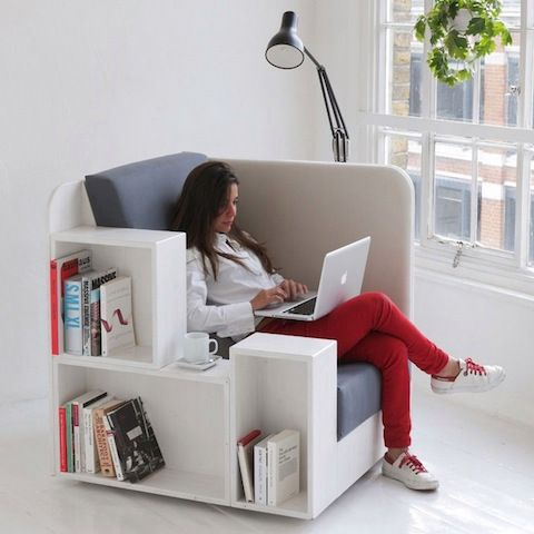 This nifty reading chair has space for your books, laptop and a cup of tea. Perfect.