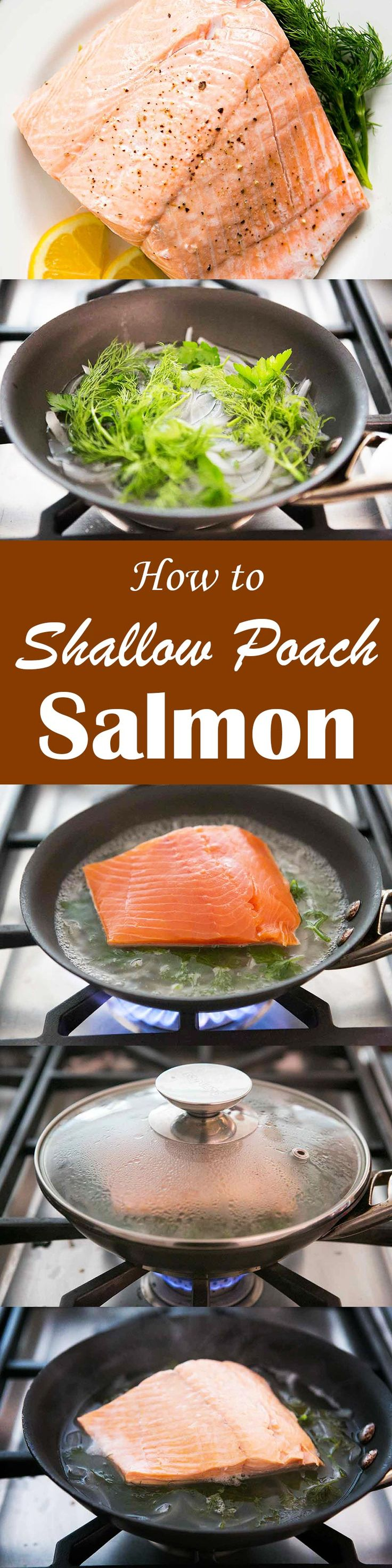 Poach salmon in only 15 minutes! Salmon poached in white wine, seasoned with fresh dill.