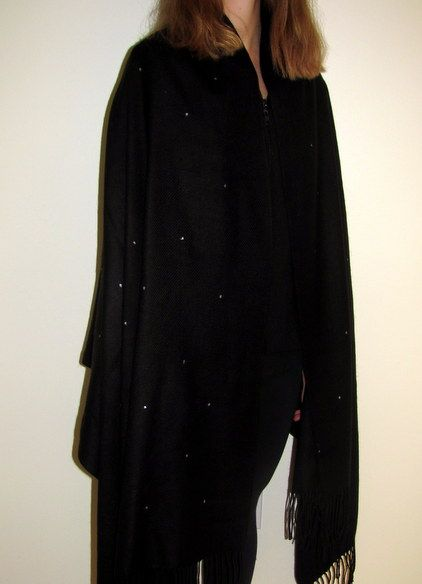 Black shawl cashmere 4 ply with silver shimmer for a beautiful full size large woman's cashmere wrap.