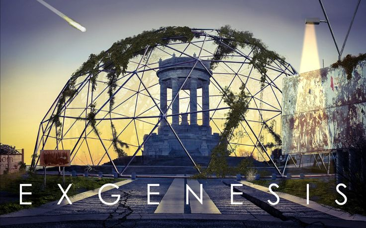 Screenshot from the title sequence of Exgenesis, a point and click adventure game in development by 48h Studio.