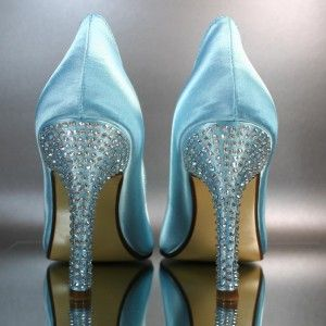Pool Blue Peeptoes with Silver Rhinestone Covered Heels - Design Your Pedestal - Custom Wedding Accessories