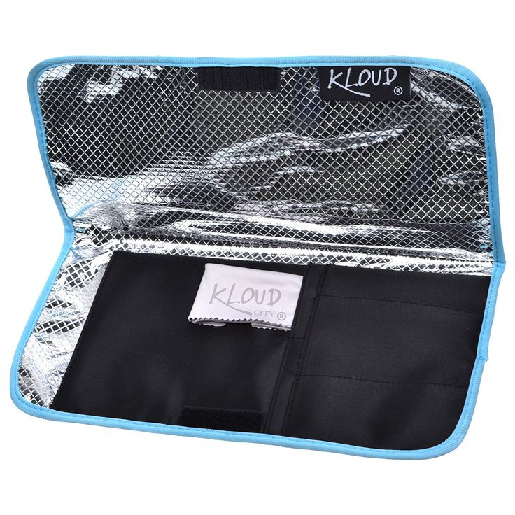 KLOUD City®Heat-resistant /Heat Shield/Flattening Irons/ Curling Iron Cover/Flat Iron Travel Pouch/Hair Straighteners Case with Velcro (Black/light blue) *** Find out more details by clicking the image : Travel Hair care