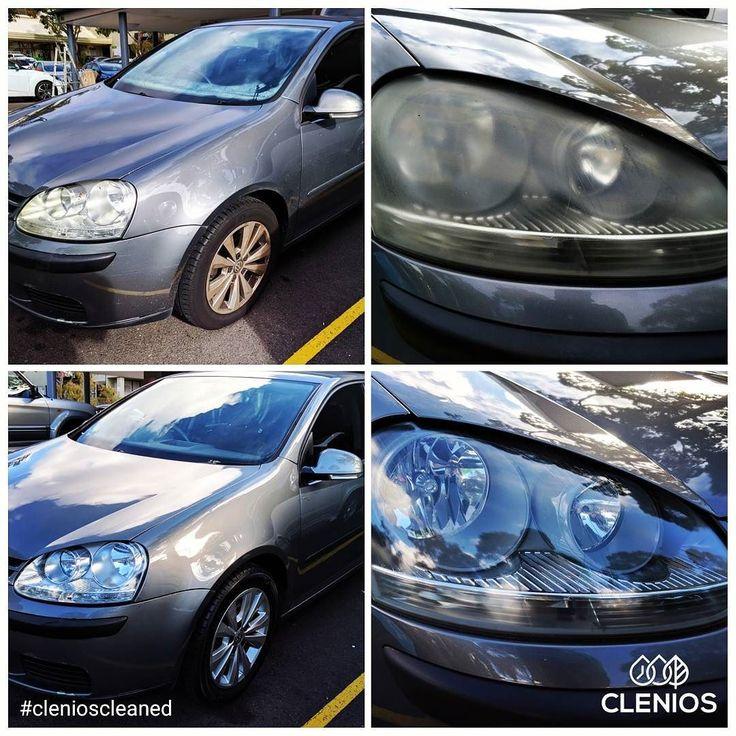 #beforeandafter #headlight restoration #VW #golf #clenioscleaned #drycleaningforcars #wax #waterlessdetail #Sydney #Australia