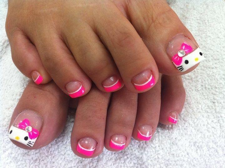 Pink - White - Black - Yellow - Bows - Rhinestone - Hello Kitty - Toe nail design