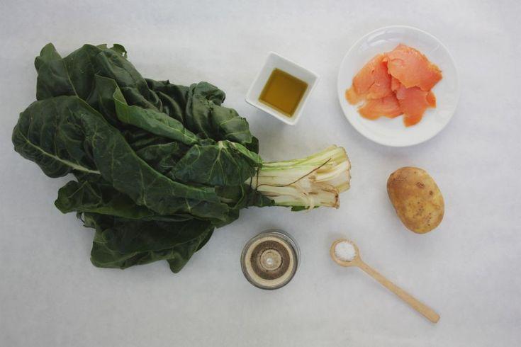 Mangoldová polievka s údeným lososom