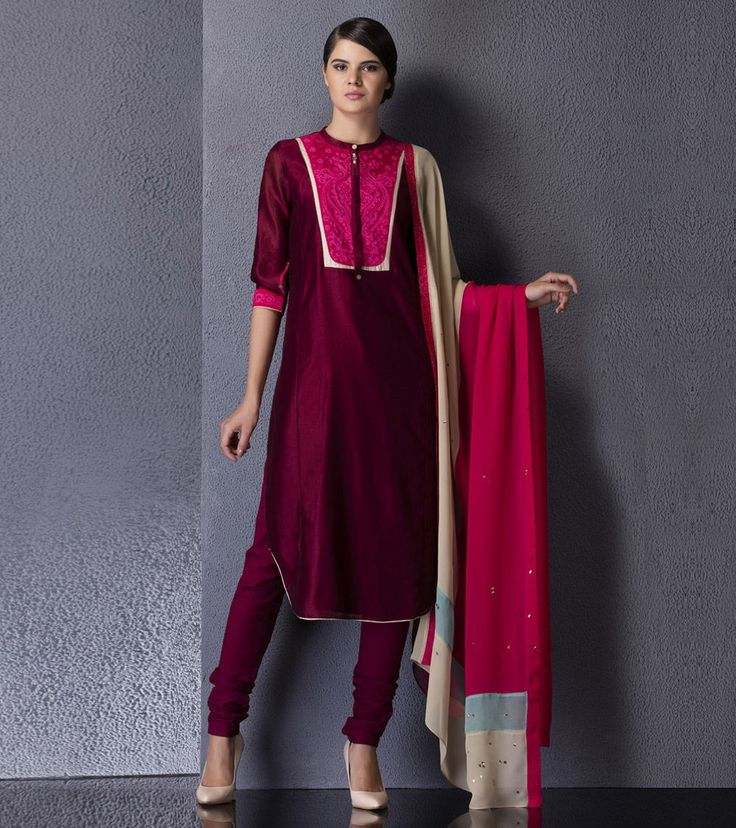 Ox Blood #Embroidered #Chanderi #Kurta #Set by #Am:Pm at #Indianroots